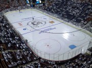 Even the ice surface at Mellon Arena got a new look for the playoffs.