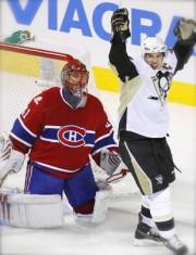 Crosby Celebrates Malkin's goal.