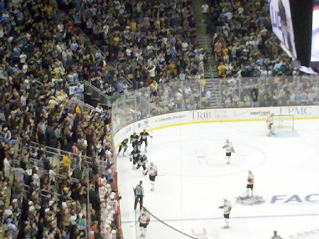 The Pens celebrating their first goal.