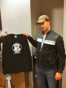 Tyler Kennedy with PenguinPoop tshirt
